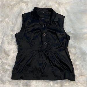 Black button up silk dressy sleeveless top